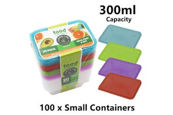 100x Small Reusable Food Containers 300ML Plastic Storage Meal Prep Disposable