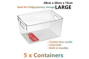 5x Large Clear Acrylic Storage Container Plastic Fridge Food Basket Bin Box Tray