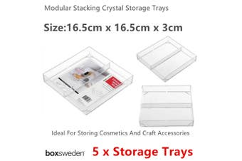 5x Stackable Clear Acrylic Storage Tray 16cm Organiser Makeup Holder Cosmetic