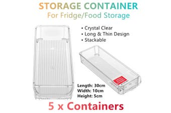 5x Stackable Long Thin Fridge Freezer Food Storage Tray Basket Container 30x10CM