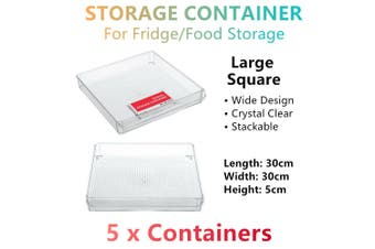 5x Stackable Large Fridge Freezer Food Storage Tray Basket Container 30x30x5CM
