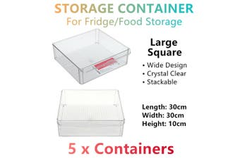 5x Stackable Large Fridge Freezer Food Storage Tray Basket Container 30x30x10CM