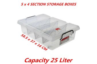 5 x 25L Clear Plastic Storage Box with Removable Dividers Containers Bin Tubs
