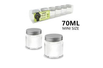6 x Clear 70ml Glass Jars Multi-purpose Storage Mini Small Jar Silver Lid Bulk