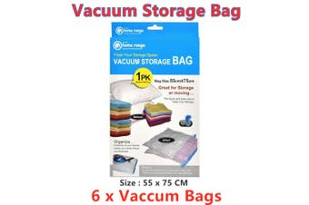 6 x Vacuum Storage Bags Clothes Sealer Bags Space Saver Storage Seal Compressing LRG