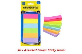 36 x Coloured Sticky Strip Note Memo Bookmark Sticker Paper Label Pad 6 Colours