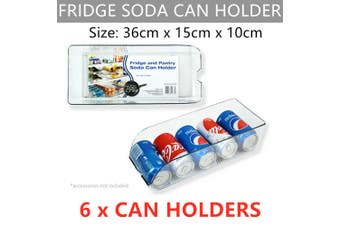 6 x Soda Can Holder Soft Drink Bottle Storage Beer Tray Rack Fridge Stacker