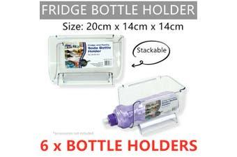 6 x Stackable Bottle Holder Stacker Storage Rack Fridge Wine Drink Soda Plastic