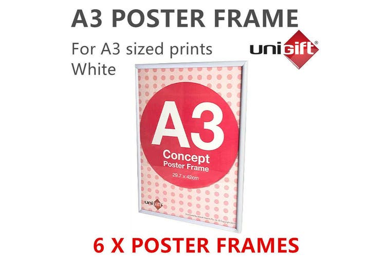 6 x Large White A3 Poster Frame Display Print Signage Photo Picture DIY Artwork
