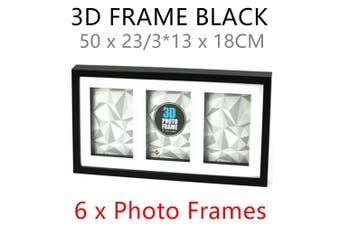 6 x Black 3D Multi Photo Frame 50x23CM MDF Deep Arts Picture Home Decor Collage