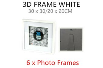 6 x White Square 3D Photo Frame 30x30CM MDF Stand Deep Arts Picture Desk Table