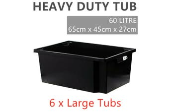 6 x Stackable Large Heavy Duty Plastic Storage Tub 60L Crate Container Box Black