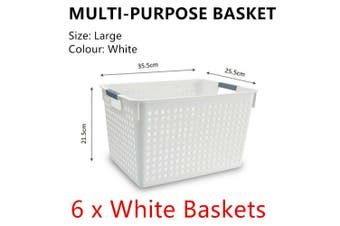 6x White Plastic Storage Basket 35x25cm Large Carry Caddy Laundry Bin Container