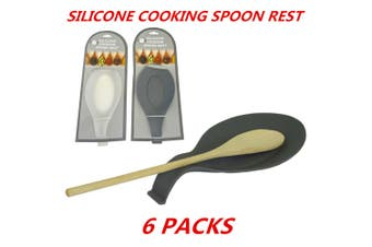 6 x Silicone Spoon Rest Heat Resistant Kitchen Utensil Spatula Holder Cooking Tool