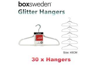 30 x Non Slip Glitter Plastic Hangers 45CM Flocked Storage Skirt Shirt Coat Anti