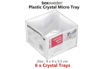 6 x Stackable Clear Crystal Micro Tray Cosmetic Storage Organiser Mackup Holder