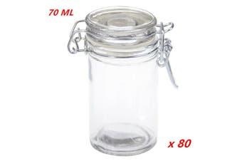 80 x 70ml Spice Mini Glass Jars Clip Lid Bottle Jam Storage Container Jar Clip Lock