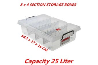 8 x 25L Clear Plastic Storage Box with Removable Dividers Containers Bin Tubs
