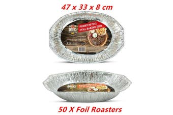50 X Oval Foil BBQ Roaster Baking Take Away Catering Container Tray Disposable