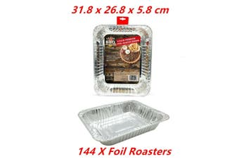 144 x Rectangular Foil BBQ Roaster Baking Catering Container Tray Disposable