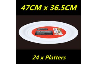 24 x WHITE PLASTIC OVAL SERVING TRAY PLATTER CATERING LARGE 47cm x 36.5cm WMCC