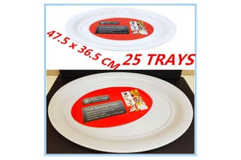 25 X LARGE PLASTIC WHITE OVAL SERVING TRAYS TRAY - CATERING PARTY EVENT FOOD FW