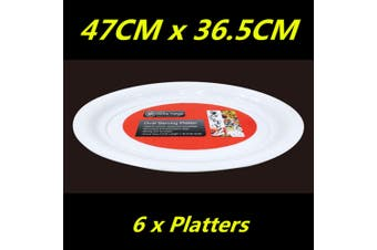 6 x WHITE PLASTIC OVAL SERVING TRAY PLATTER CATERING LARGE 47cm x 36.5cm WMCC