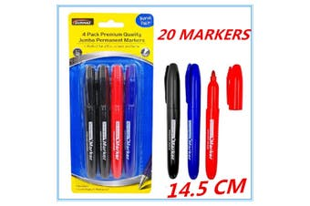 20 x Permanent Markers Whiteboard Marker Black Red Blue Office Home School Fd