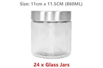 24 x Round Screw Top Glass Jars 860ML 11X11.5CM Airtight Food Storage Container