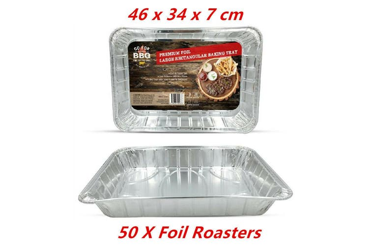 50 x Large Rectangular Aluminium Foil BBQ Roaster Baking Container Oven Tray