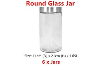 6 x Airtight Large Cylinder Glass Jar 1.65L Food Storage Container Canister