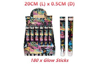 180 x Glow Stick 20CM Mixed Colour Flash Light Bracelet Wand Cheer Party Glowstick