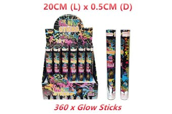 360 x Glow Stick 20CM Mixed Colour Flash Light Bracelet Wand Cheer Party Glowstick