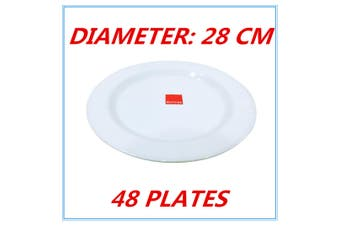48 x Melamine Round Plate 28cm Birthday Wedding Party Dinner White Cafe Snack Dish