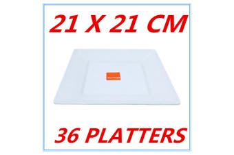 36 GLOSSY WHITE MELAMINE SQUARE PLATTER PLATTERS PLATE PARTY FUNCTION KITCHEN FD