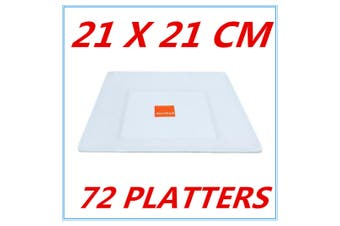 72 GLOSSY WHITE MELAMINE SQUARE PLATTER PLATTERS PLATE PARTY FUNCTION KITCHEN FD