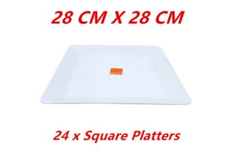 24 LARGE GLOSSY WHITE MELAMINE SQUARE PLATTERS PLATE PARTY FUNCTION KITCHEN FD