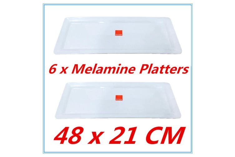 6 x Large Melamine Serving Platter 48 x 21cm White Serving Tray Catering Tray