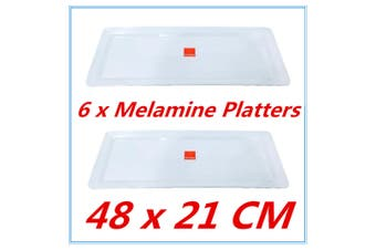 6 x Large Melamine Serving Platter 48 x 21cm White Serving Tray Catering Tray FW