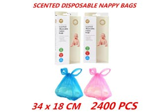 2400 Disposable Scented Baby Nappy Sack Bin Waste Bags With Handles Poo Toilet