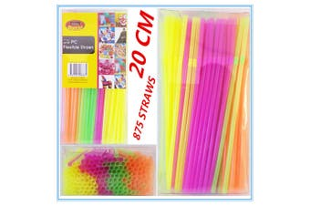 875 X FLEXIBLE PLASTIC COLOURFUL DRINKING STRAWS 20 CM PARTY WEDDING FUNCTION D