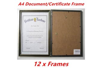 12 x Black with Gold Trim A4 Size Document Certificate Photo Picture Frame