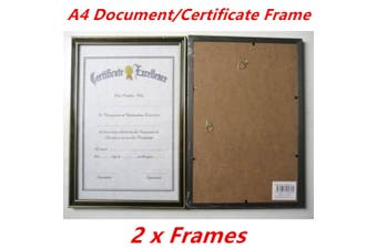 2 x Black with Gold Trim A4 Size Document Certificate Photo Picture Frame