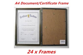 24 x Black with Gold Trim A4 Size Document Certificate Photo Picture Frame