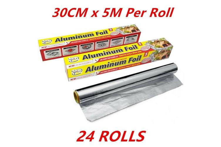 24 Rolls Aluminium Foil Roll 5 Metres Meter Kitchen BBQ Party Function Bulk FD