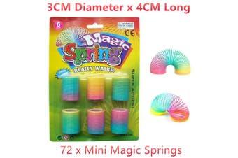 72 x Mini Neon Magic Spring Decor Travel Play Toy Stress Relief Slinky Flexible