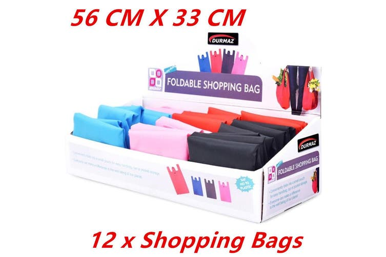 12 x Fold-able Waterproof Reusable Shopping Storage Bags Handbags Grocery Bag 56CM