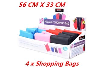 4 x Fold-able Waterproof Reusable Shopping Storage Bags Handbags Grocery Bag 56CM