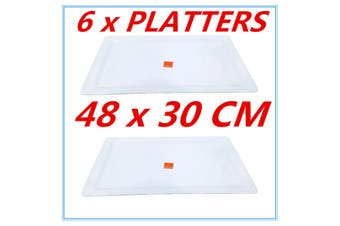 6PK WHITE MELAMINE SERVING TRAY RECTANGLE PLATTER CATERING TRAYS 48cm x 30cm fd
