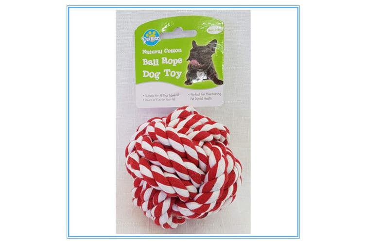 RED WHITE COLOURFUL JUMBO NATURAL COTTON ROPE BALL DOG TOY NON-TOXIC PET DENTAL HEALTH